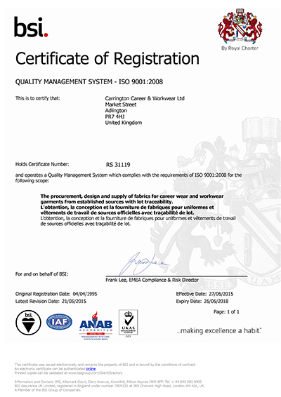 Carrington ISO 9001:2008